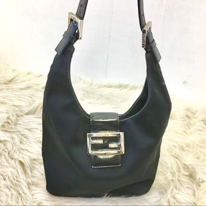 Fendi Handbag. Nylon and Leather. Black.